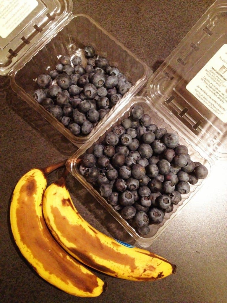 Two overripe bananas and a boatload of blueberries