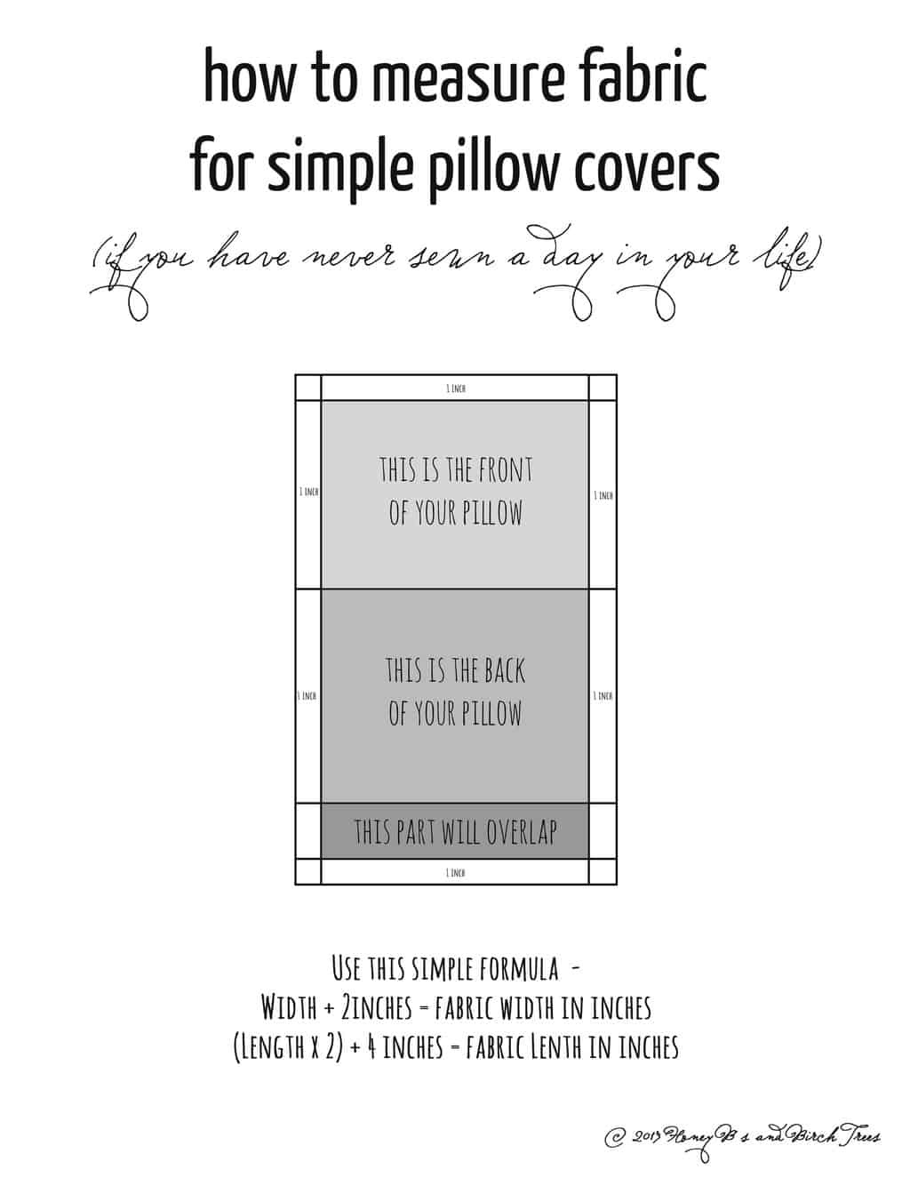 Pillow Cover Diagram | Honey Bs and Birch Trees