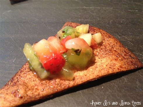 Strawberry and Kiwi Salsa with Cinnamon Chips