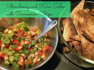 Strawberry and Kiwi Salsa with Cinnamon Tortilla Chips