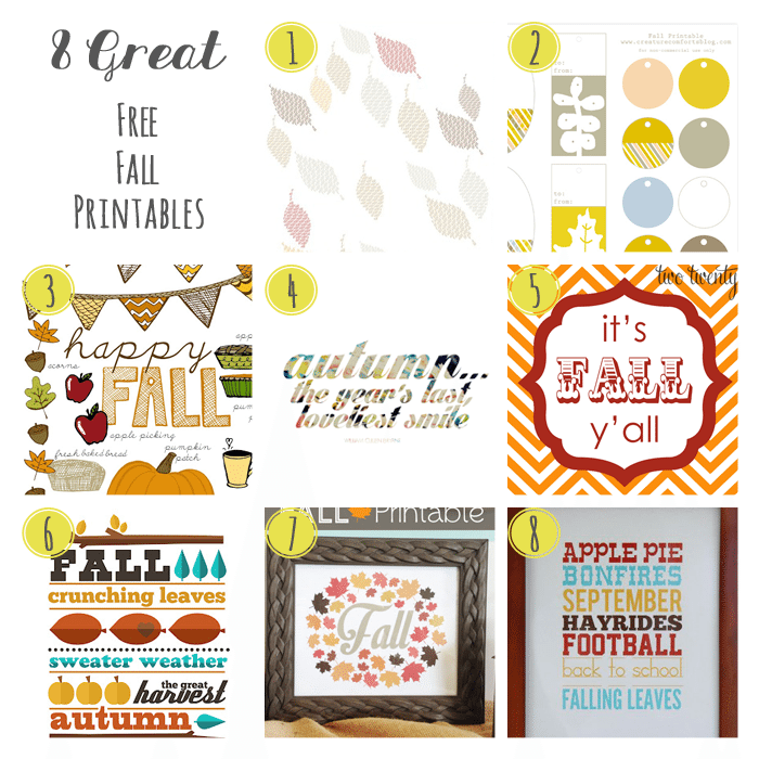 8 Great Free Fall Printables