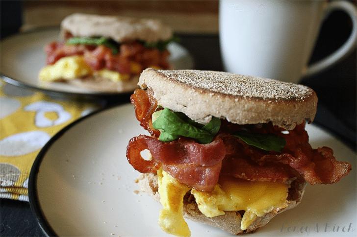 Bacon and Arugula Breakfast Sandwich
