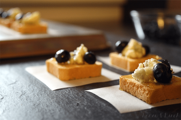 Blue Honey Mini Toast Appetizers