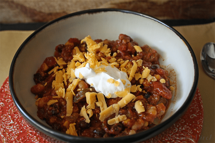Everything but the kitchen sink chili is hearty! Full of meat and veggies, it's bound to become your favorite chili recipe.