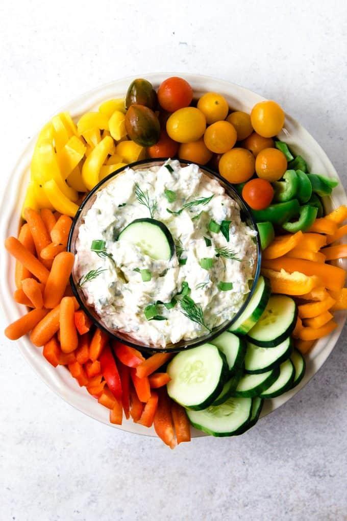 overhead photo of vegetable dip