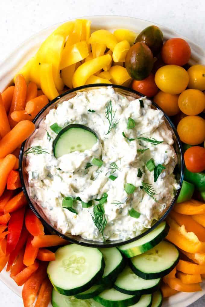 clear bowl of easy vegetable dip