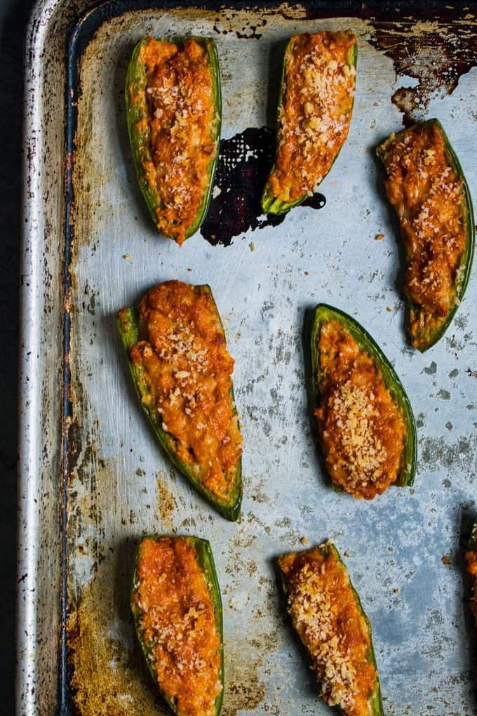 baked jalapeno poppers on a sheet pan