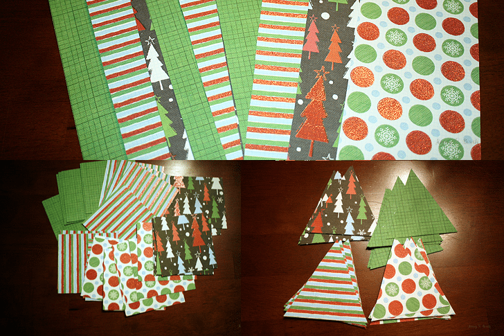 If you're looking for an easy holiday decoration, try this DIY!   Christmas Scrapbook Paper Tree Garland   www.honeyandbirch.com