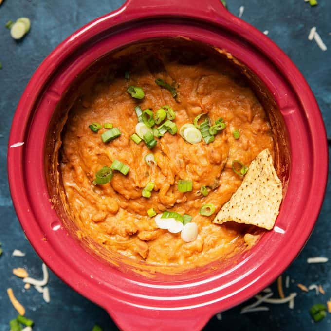 overhead photo of slow cooker bean dip