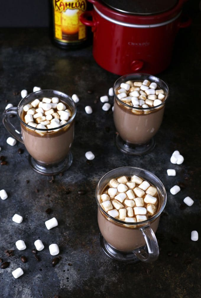 Slow cooker Kahlua hot chocolate in 3 mugs
