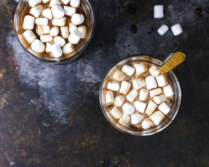 two mugs of Kahlua hot cocoa with marshmallows