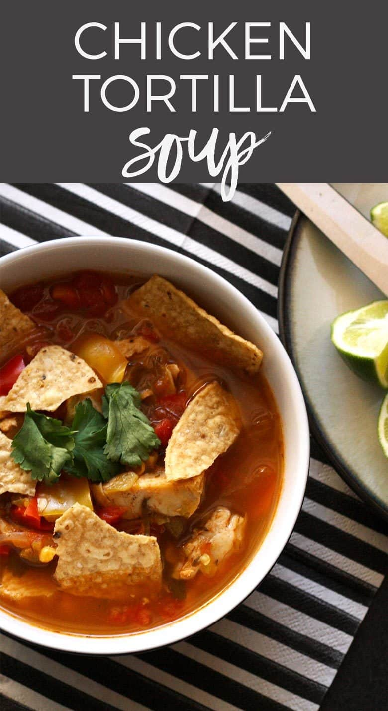 This chicken tortilla soup is easy to make thanks to pre-cooked chicken - you can even use a rotisserie chicken.  It is full of vegetables and spice! Make it anytime of year for the perfect feel good soup recipe!