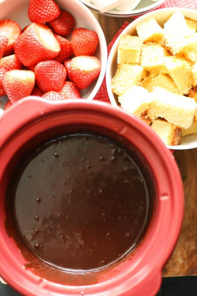 slow cooker full of chocolate fondue