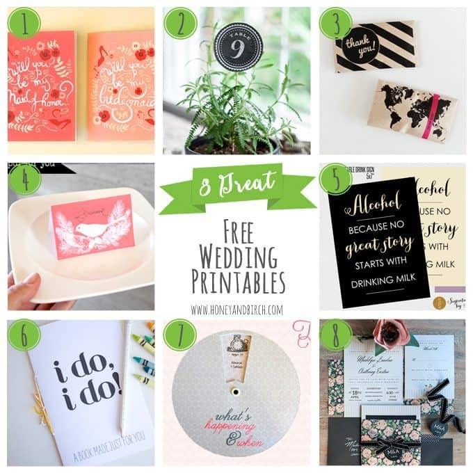 8 Great Free Wedding Printables