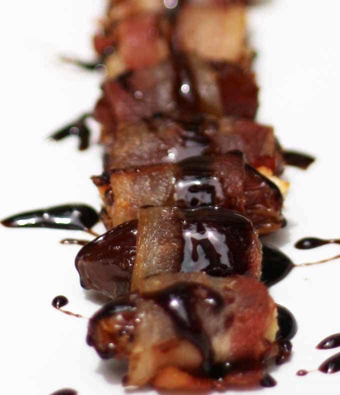 Bacon Wrapped Dates with a Honey Balsamic Reduction | Honey and Birch