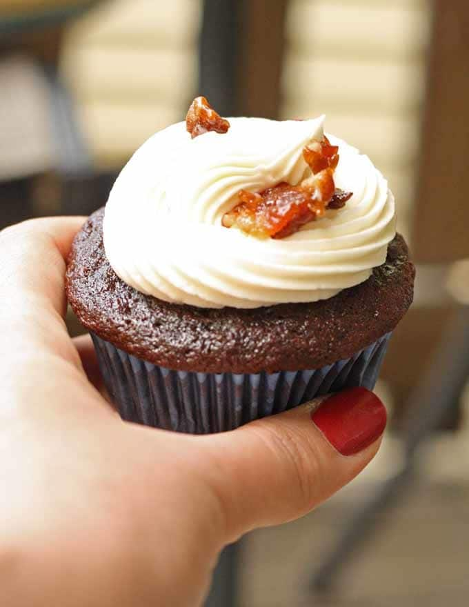 Chocolate Coffee Cupcakes with Whiskey Buttercream Frosting and Candied Bacon