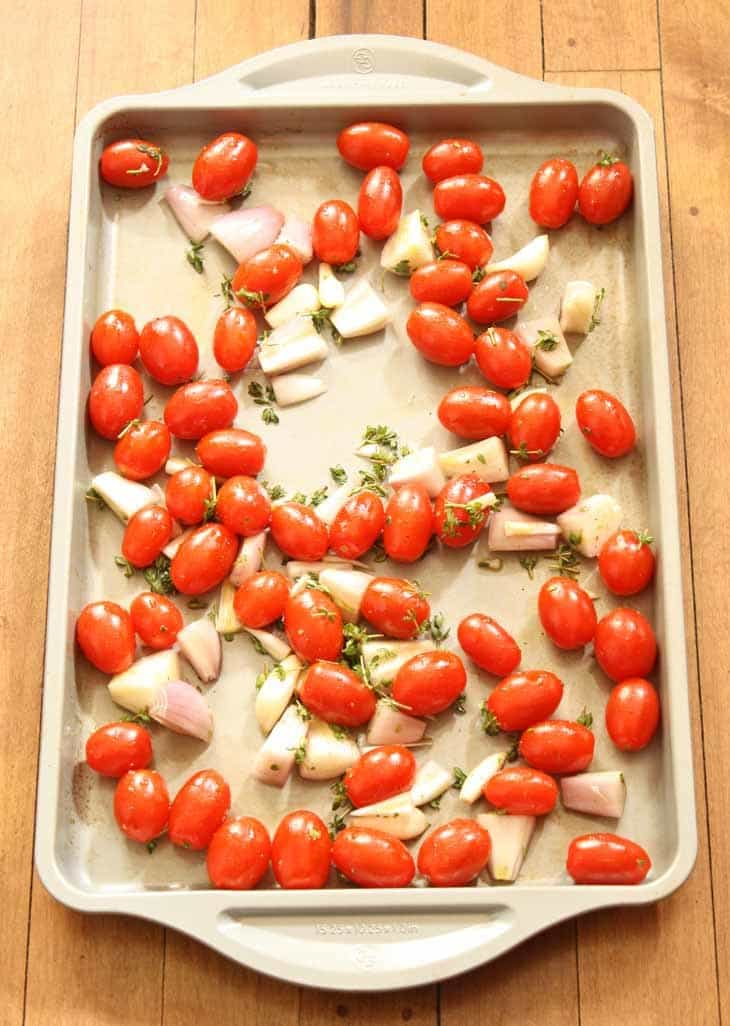 Preroasted Tomatoes, Shallots and Garlic - This recipe for grilled steak and pasta with roasted vegetables is perfect for summer grilling!   honeyandbirch.com