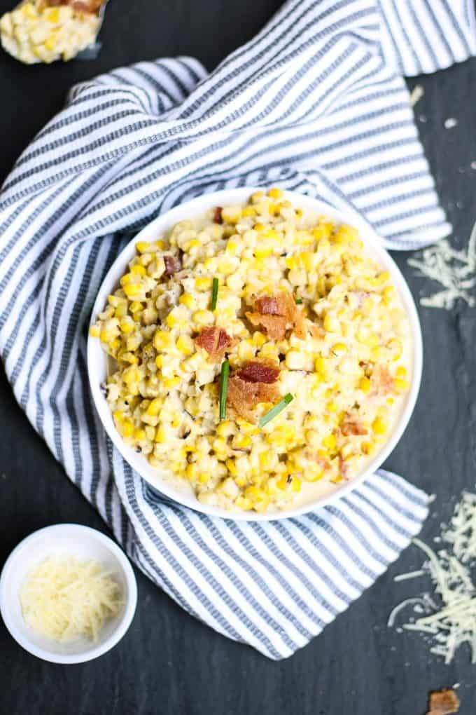 bowl of creamed corn with bacon