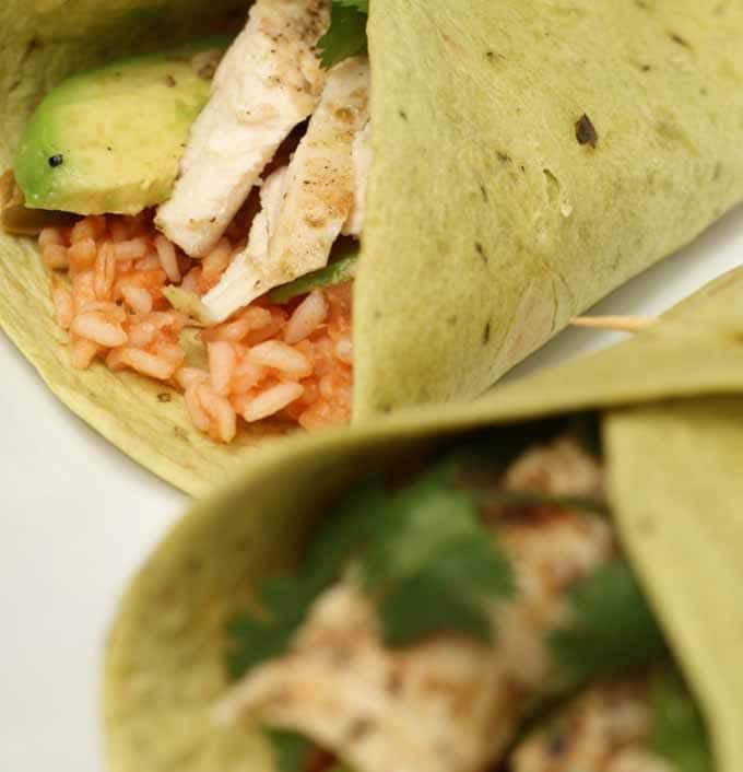 Grilled Chicken Wraps with Spanish Rice - Honey and Birch