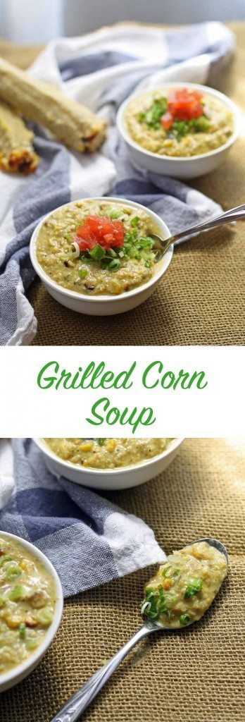 This vegetarian grilled corn soup is perfect for summer! Veggie based with tons of flavor and color! | honeyandbirch.com