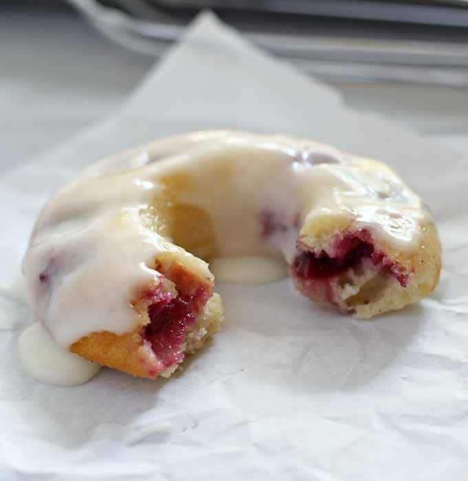 Baked Cherry Vanilla Bean Doughnuts | Honey and Birch