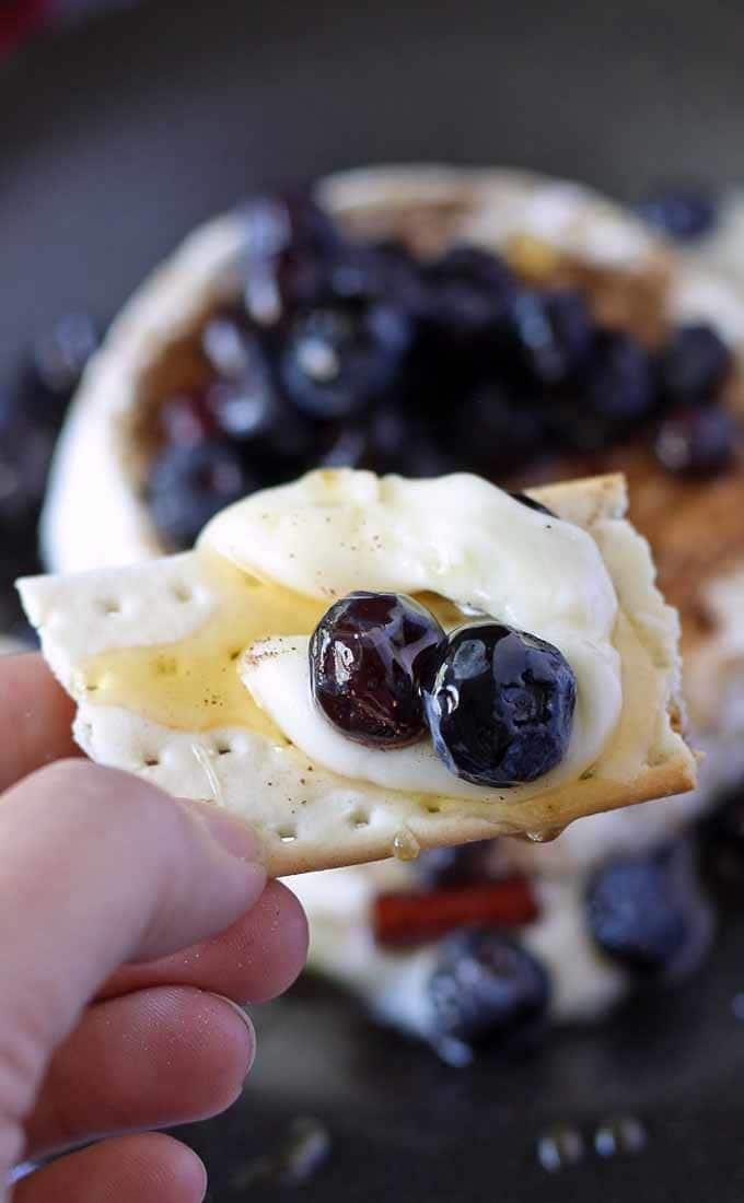 Brie and Pickled Blueberries - an easy appetizer perfect for dinner parties, book clubs and wine nights! #appetizer #bookclub #winenight #GNO