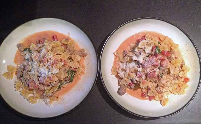 Finished Creamy Tomato Bowties with Sausage