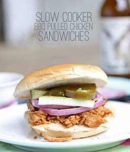 Easy Slow Cooker BBQ Pulled Chicken Sandwiches
