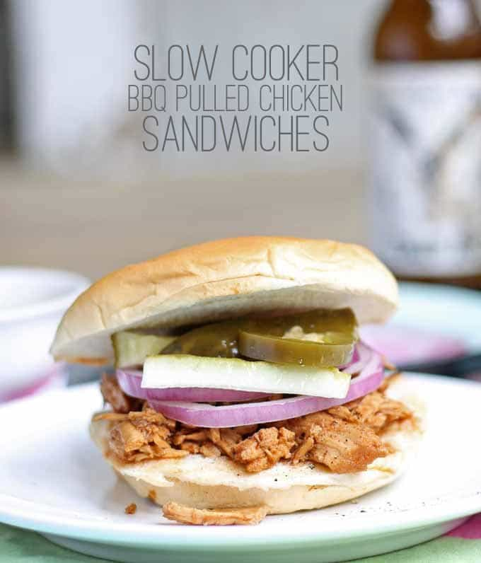 Slow Cooker BBQ Pulled Chicken Sandwiches | Honey and Birch #slowcooker #dinner #sandwiches
