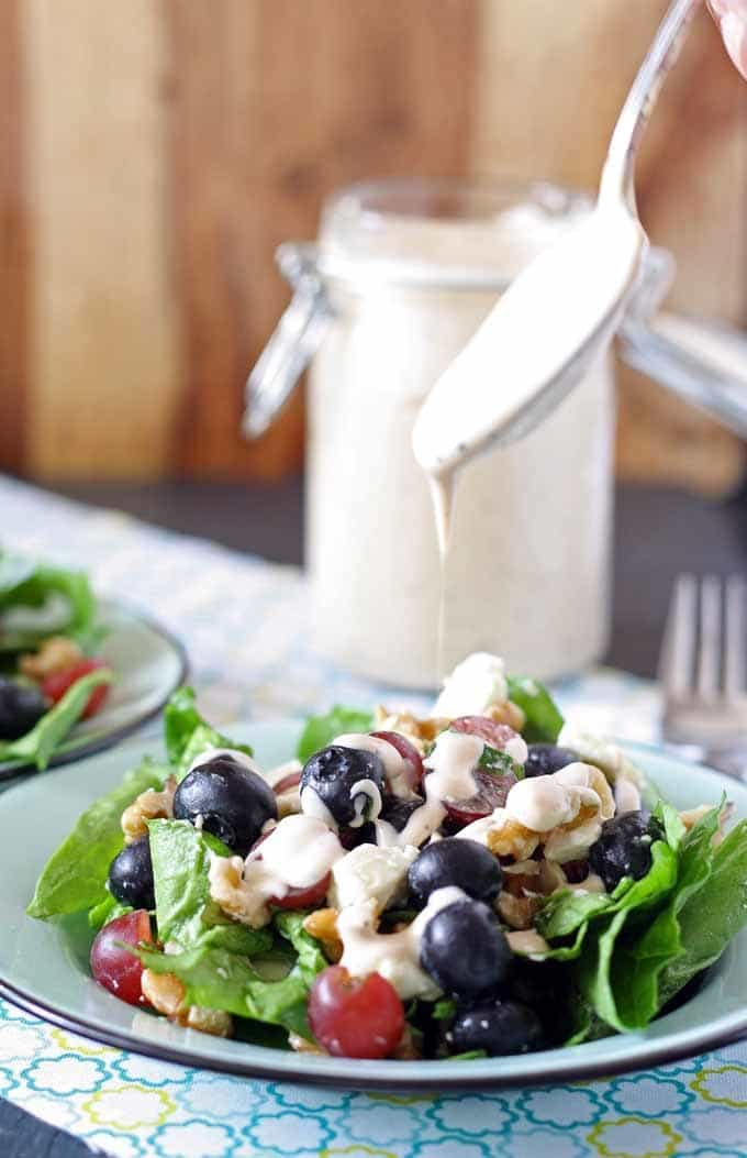 Spinach Salad with Balsamic Poppyseed Dressing | Honey and Birch