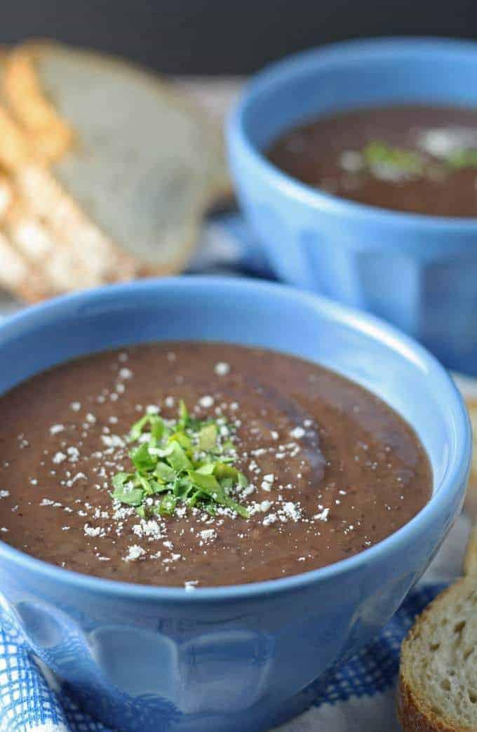 3 Ingredient Black Bean Soup Recipe | honeyandbirch.com #easy