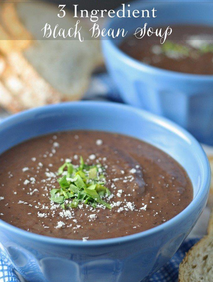 3 Ingredient Black Bean Soup | honeyandbirch.com #easy