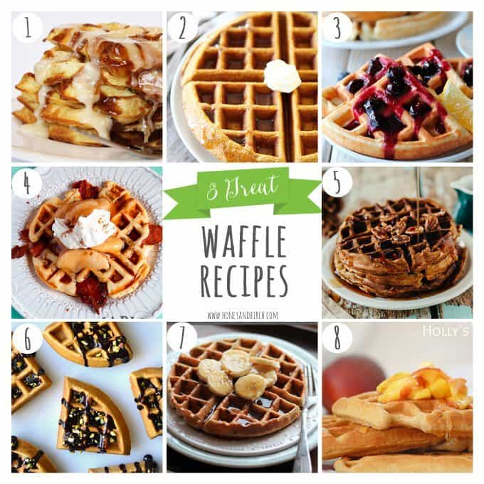 Looking to change up your breakfast a little bit? Check out these 8 Great Waffle Recipes! --> Honey and Birch #waffles #breakfast