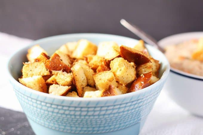picture of homemade croutons