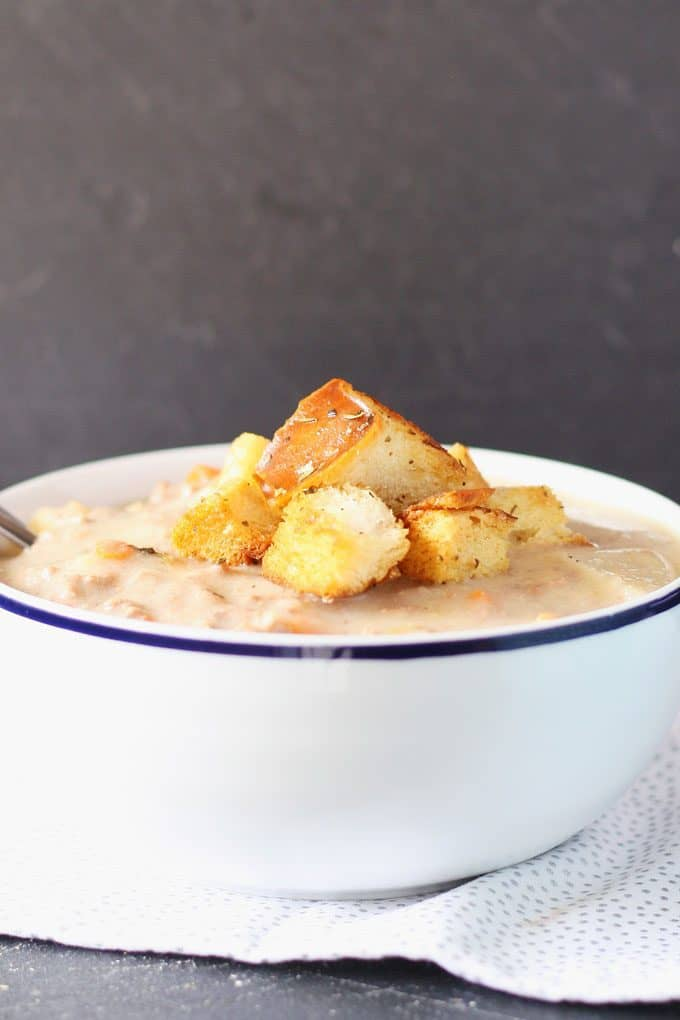 homemade croutons on a bowl of soup