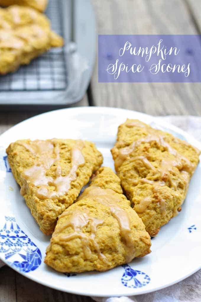 pumpkin spice scones on a white and blue plate
