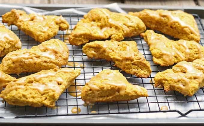 Pumpkin spice scones on a cooling rack