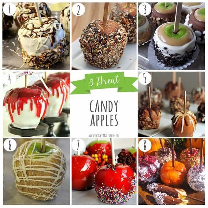 8 Great Candy Apple recipes perfect for fall parties and Halloween! #autumn | Honey and Birch
