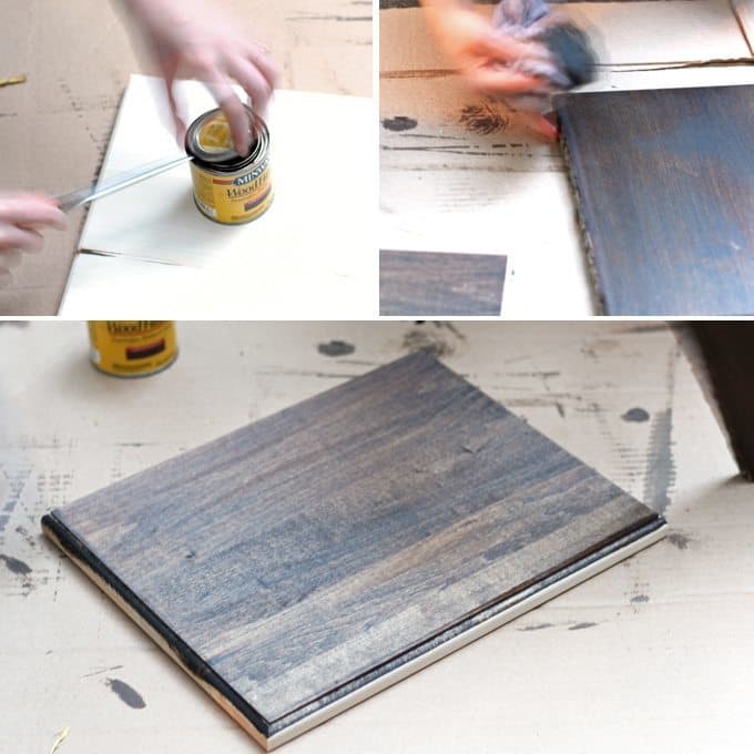 Staining the wood for my string art project. Make string art out of any picture! #DIY #stringart