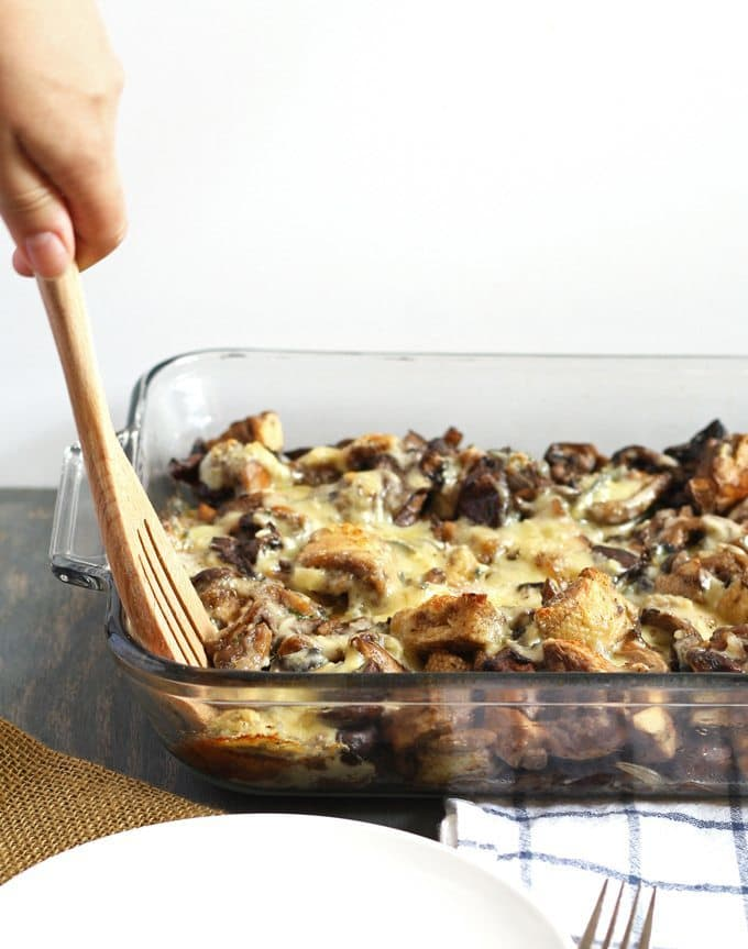 This mixed mushroom casserole is perfect for holiday dinners like Thanksgiving! | Honey and Birch | www.honeyandbirch.com