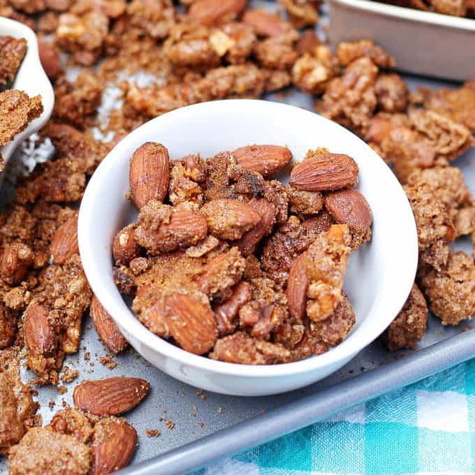 pumpkin pie spiced nuts in a bowl