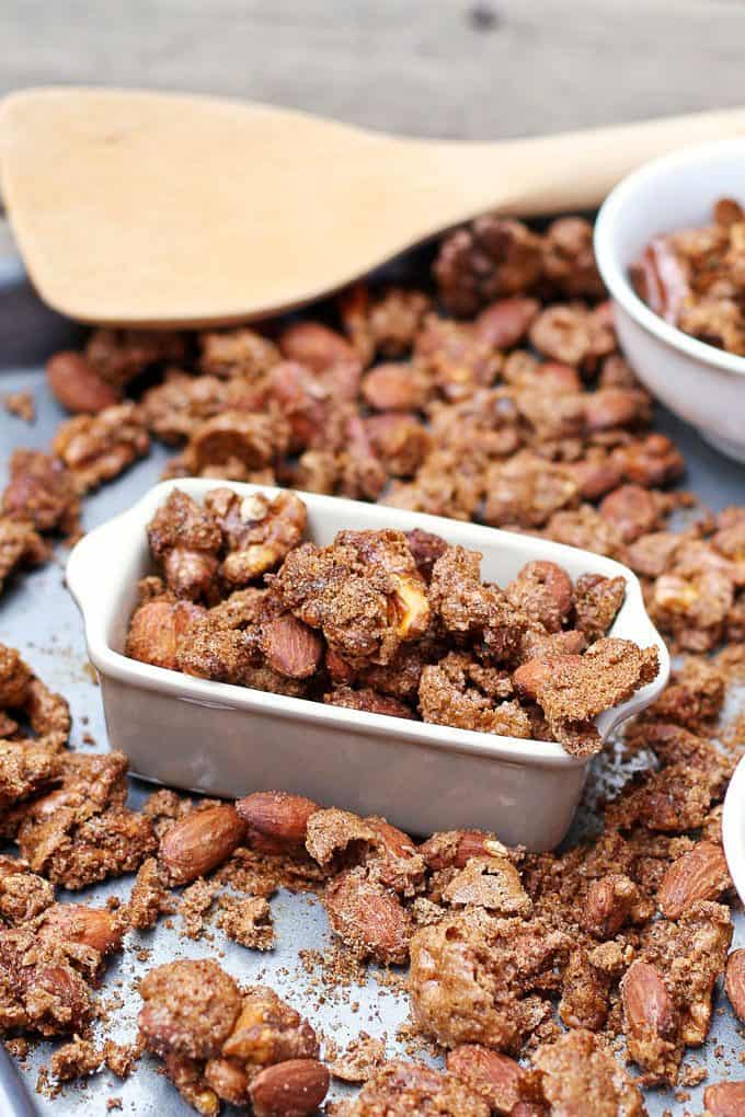 pumpkin pie spiced nuts in a container