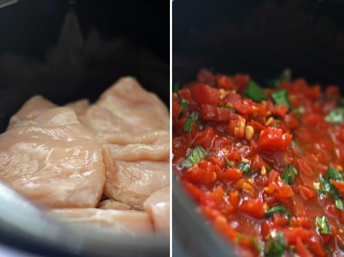 Slow Cooker Bruschetta Chicken - Get dinner on the table for your family with this an easy recipe for slow cooker bruschetta chicken! | Honey and Birch #slowcookermeals