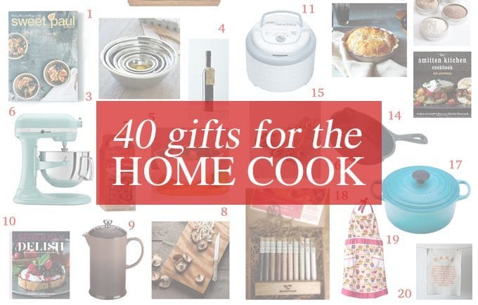 This kitchen gift guide contains 40 gifts for the home cook - perfect for amateur chefs and foodies alike! | www.honeyandbirch.com