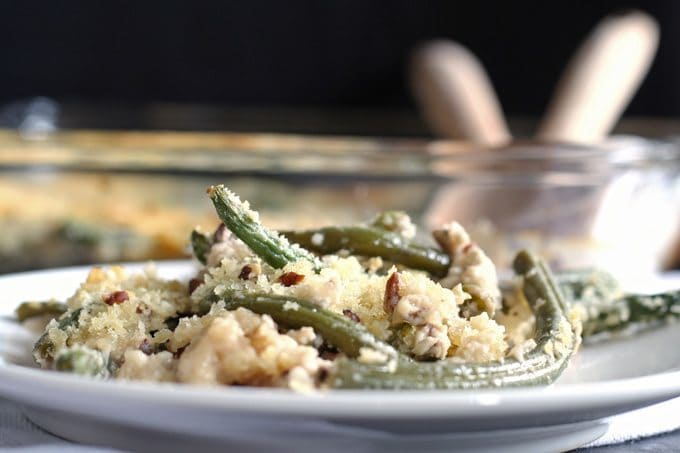 Gorgonzola green bean casserole is a perfect Thanksgiving side dish - add pecans and panko bread crumbs for extra crunch! | www.s.com