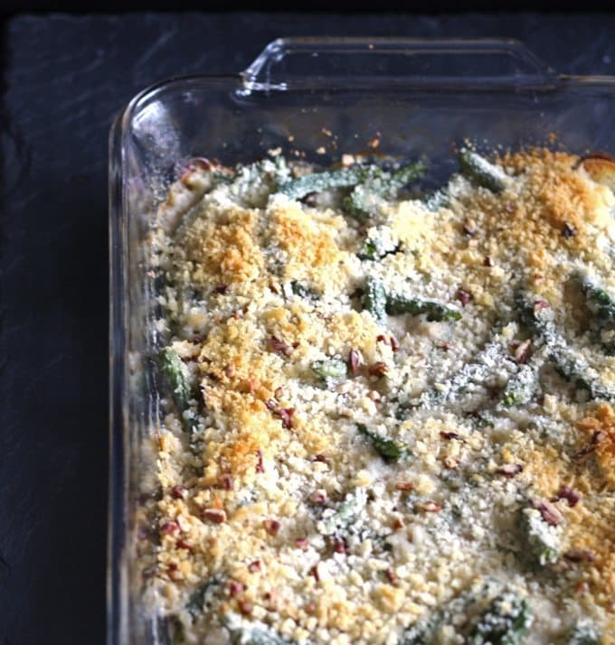 Gorgonzola green bean casserole is a perfect Thanksgiving side dish - add pecans and panko bread crumbs for extra crunch!   www.honeyandbirch.com
