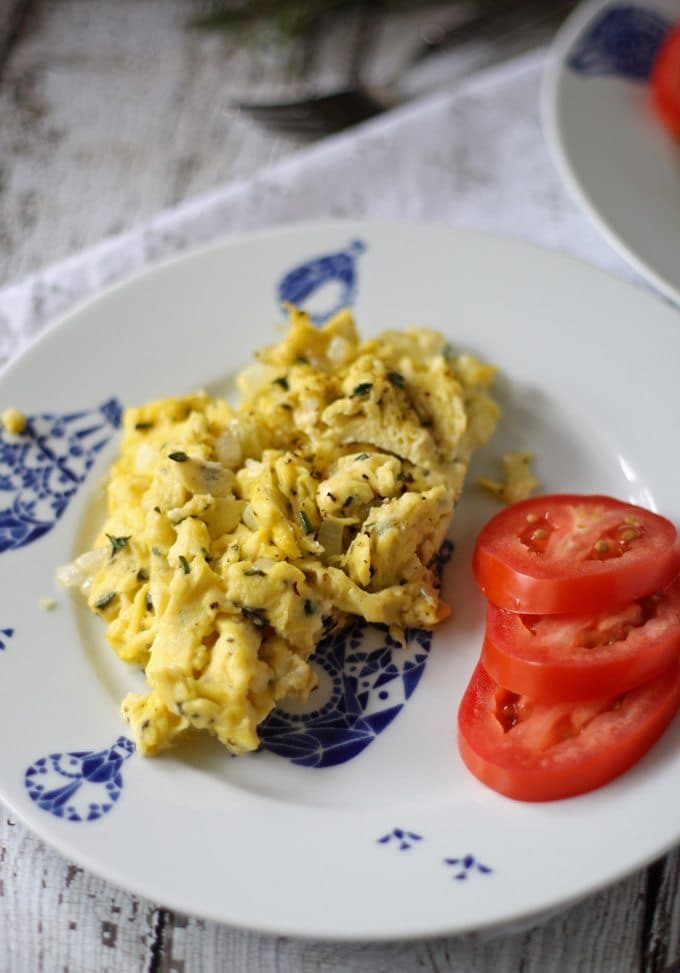 Leftover Herb Breakfast Scrambler | www.honeyandbirch.com