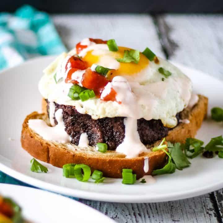 black bean breakfast sandwich open faced