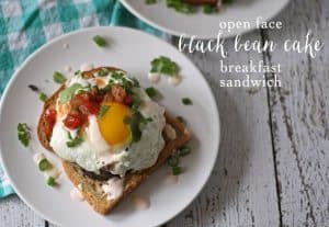 Open Face Black Bean Cake Breakfast Sandwich and a Hamilton Beach Review