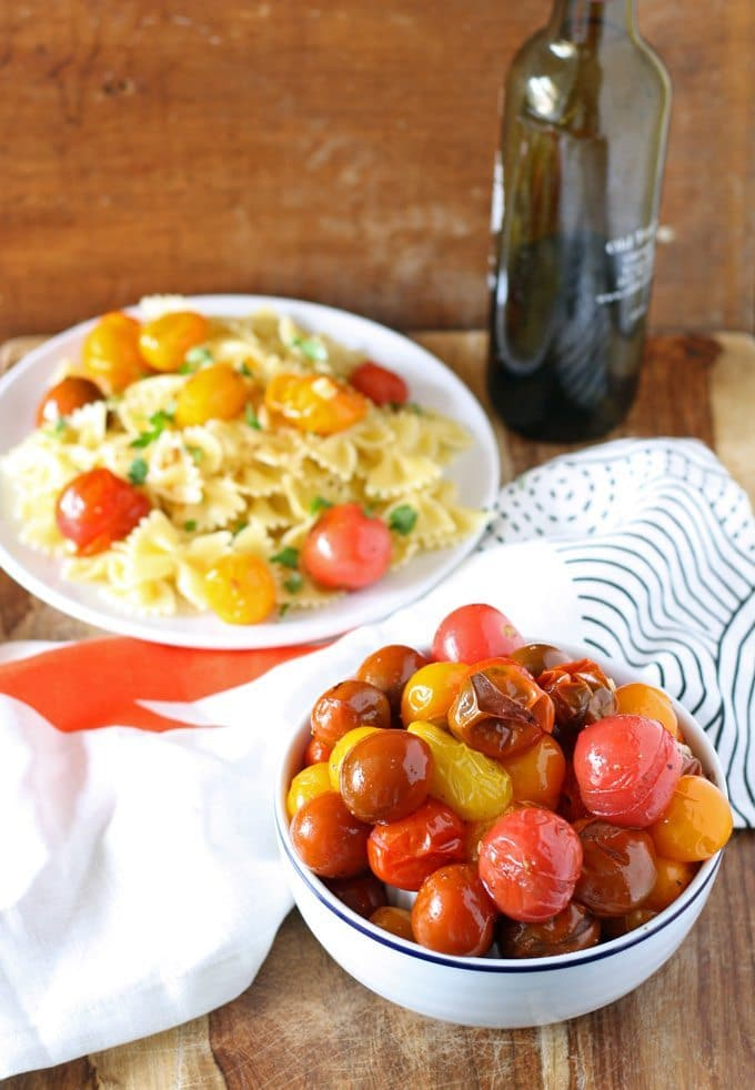 Easy roasted cherry tomatoes and garlic
